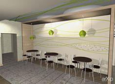Объемная работа со стенами: интерьер, современный, модернизм, open space, ресторан, кафе, бар, 30 - 50 м2 #interiordesign #modern #openspace #restaurant #cafeandbar #30_50m2 arXip.com