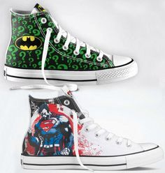 The Dark Knight Rises this week. Wish I had these celebratory Chucks to watch it in.    superhero-sneakers-with-the-customizable-DC-Comics-Converse -huck-Taylors-1
