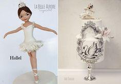 Gumpaste Ballerina Model Cake Topper by La Belle Aurore Sugarcraft left, Ballerina Cake right by Kek Couture