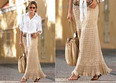 Knitting Patterns Skirt Pattern Crochet Skirt Maxi We go 3 maxi skirts one already had brought it with pattern is with wool more …. Crochet Dress Outfits, Crochet Wedding Dresses, Crochet Skirts, Knit Skirt, Crochet Clothes, White Maxi Skirts, Maxi Skirt Boho, Long Maxi Skirts, Lace Skirt