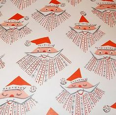 Vtg Christmas Wrapping Paper Gift Wrap Mid Century Atomic Age Santa | eBay