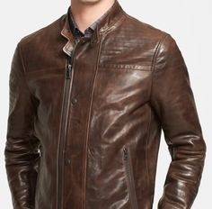 John Varvatos Collection Extra Trim Fit Leather Moto Jacket Brown