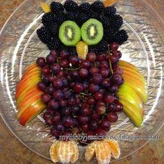 Owl Fruit Plate - blackberry head, kiwi eyes, cuties beak & feet, apples wings & ears, grapes body
