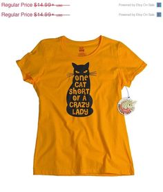 Womens Cat shirt One Cat Short Of A Crazy Lady by UnicornTees, $14.94