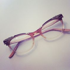 30947aff609 1950s American Optical Floral Cats Eye Glasses by Toastoftown