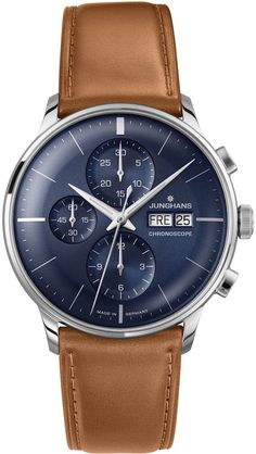 Junghans Meister Chronoscope Mens Day Date Automatic Chronograph Watch - Analog Blue Face with Luminous Hands - Stainless Steel Brown Leather Band Luxury Watch Made in Germany