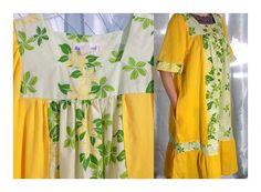 Vintage Yellow Hawaiian Muumuu Yellow with Green Floral