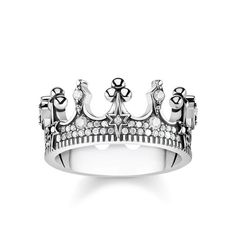 """ring """"crown silver"""" - – from the Glam & Soul collection from EUR Order now easy & secure in our official THOMAS SABO online shop! Bijoux Thomas Sabo, Thomas Sabo Bague, Jewellery Uk, Fashion Jewelry, Silver Charms, Sterling Silver Necklaces, Royal Rings, James Jewelry, Glass Jewelry"""