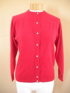Hampshire Studio Cardigan Sweater Red Pearl Buttons Womens Sz P/S Made USA #HampshireStudio #Cardigan http://stores.ebay.com/Castys-Collectibles?_dmd=2&_nkw=hampshire+cardigan