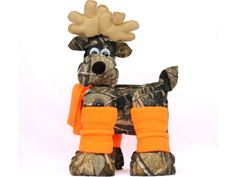 Camo Reindeer with Orange legwarmers by ReindeerCountry on Etsy