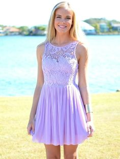 Adorable Summer Light Purple Lace Dress