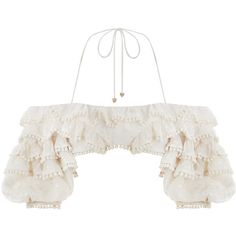 ZIMMERMANN Painted Heart Ruffle Bodice ($960) ❤ liked on Polyvore featuring tops, blouses, off-shoulder blouses, off-the-shoulder blouses, ruffle sleeve blouse, halter crop top and white off the shoulder top
