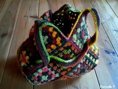 Granny Square Bag. A great way to use up left-over squares from other projects.