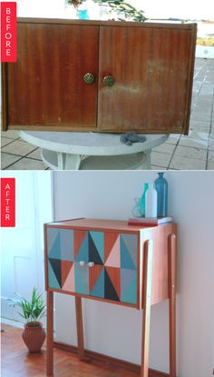 Before & After - beat-up little cabinet turned geometric side table
