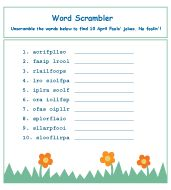 April Fools Day word scramble (each scramble spells April Fools)