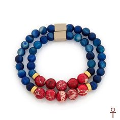 Father and Son Collection Blue Lapis Bracelets #bracelet #blue #father #son #lapis #men #red #silver #menfashion
