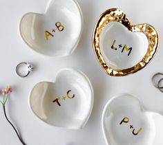 Custom 22k Gold Monogram White Heart Ring Dish by Modern Mud