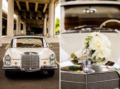 vintage Mercedes wedding car by Dina Chmut photography