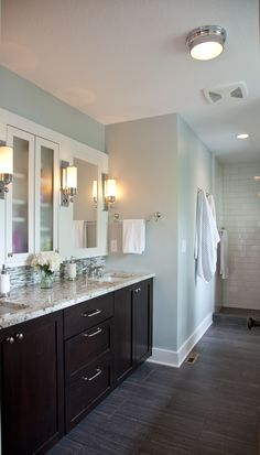 like the floors, dark vanity, tiles; but with full mirror wall instead Master Bath