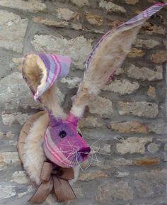 Faux taxidermy pink & purple bunny, hare, rabbit wall mounted animal head