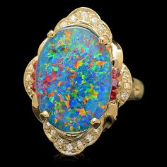 14K YELLOW GOLD 6.00CT OPAL 0.15CT DIAMOND RING