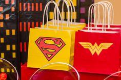 "Photo 5 of Birthday ""Superhero Birthday Bash"" Superhero Party Bags, Superman Party, Superhero Baby Shower, Superhero Birthday Party, Birthday Bash, Birthday Parties, Birthday Ideas, Wonder Woman Birthday, Wonder Woman Party"