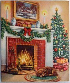 Cozy Hearth Scene w/ Sleeping Dog-Vintage Christmas Greeting Card Christmas Scenes, Christmas Past, Very Merry Christmas, Cozy Christmas, Christmas Pictures, Beautiful Christmas, Christmas Cover, Xmas, Family Christmas