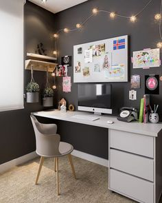 home office ideas; small home office; – Home Decoration Home Office Shelves, Home Office Organization, Home Office Space, Home Office Desks, Organization Ideas, Small Office, Study Room Decor, Room Ideas Bedroom, Bedroom Decor