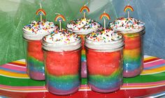 Rainbow Cakes in Jars...Liams next birthday cake!
