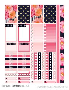 Pretty in Pink Free Printable Planner stickers for the classic size Happy Planner. Includes 2 full pages of planner stickers.