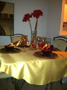 Red and gold table setting.