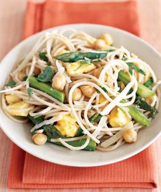 Brown Rice Pasta, Asparagus, and Eggs recipe from realsimple.com #myplate #protein #vegetables