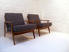 Pair OF Parker Blackwood Rattan Back Lounge Chairs Sydney 1961 Vintage Retro Retro Home, Mid Century Furniture, Lounge Chairs, Rattan, Sydney, Retro Vintage, Accent Chairs, Armchair, Home And Garden