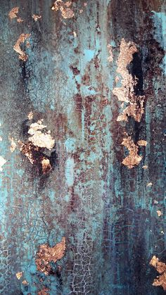Turquoise Green and Gold Leaf Textured Abstract Painting 16 x