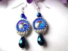 Swarovski Crystal Cobalt Blue Sterling Silver Hand Beaded Earrings | specialtivity - Jewelry on ArtFire