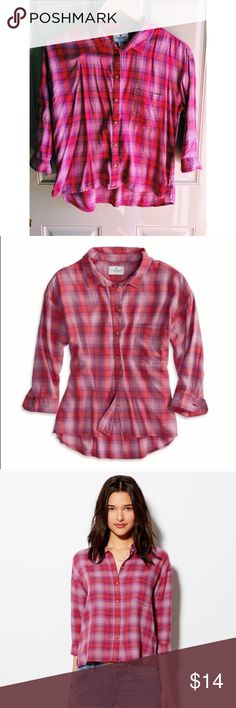 🆕LISTING!💕AMERICAN EAGLE FLANNEL🎀 This is the perfect flannel to wear on those cool summer nights! It has more of a cropped fit to it. I have worn it once and it's in like new condition.😀 🚫No trades ✅Open to reasonable offers  💝Bundle and save American Eagle Outfitters Tops Button Down Shirts