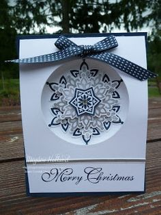 handmade Christmas card from Megumi's Stampin Retreat: Festive Flurry Christmas Card ... lovely layered snowflake in gray and navy ... Stampin' Up!