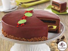Pastel elaborado con bizcocho de chocolate con jarabe al kirsch, relleno de una deliciosa combinación de mousse de chocolate y cremoso de pistache con cerezas al kirsch. Cubierto con glasé de chocolate y decorado con perlas rojas.  #Pistannelle #delicoso #pastel #encompañia #disfrutar #sabores #chocolate #riquísimo #celebremos #conamigos #confamilia #fiesta #amor #mejoresdeseos