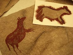 Here is one of my favourite lessons: Cave Art. These were created by grade students. We looked at the famous Caves of Lasca. Stone Age Art, Lascaux, 6th Grade Art, Ecole Art, Middle School Art, Arts Ed, Art Plastique, Elementary Art, Art Activities