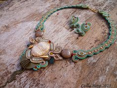Soutache necklace and earrings set sand brown by CsillaPapp, $235.00