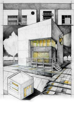 Fairly good presentation sheet. Vertical page layout works great, as it gives this image the feel of a poster. Facades at the top, Axo in the foreground, huge perspective to link it all together. Pencil + Colored Crayons on 50x70 Standard Paper, 4 Hours Completion Time #architecture #architect #rendering