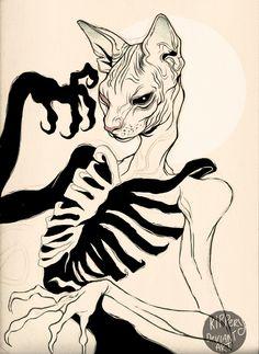 Evil Cat skeleton from Kippery? Art Sketches, Art Drawings, Character Art, Character Design, Cat Skeleton, Creepy Art, Wow Art, Geometric Art, Oeuvre D'art