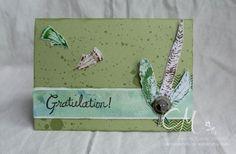 Mit Federn gespickt… | Caros Bastelbude Karte zum Geburtstag, Stampin' Up!, Stempelsets Fine Feathers, Button Button, Gorgeous Grunge, Paper Piercing