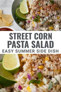 This easy Mexican Street Corn Pasta salad recipe is the best summer side dish to bring to a BBQ or party. It's packed with sweet corn kernels and dressed in a creamy sour cream and mayo based dressing with a hint of chili and a splash of lime. Can easily be made ahead of time. Summer Side Dishes, Healthy Side Dishes, Side Dishes Easy, Side Dish Recipes, Healthy Sides, Corn Pasta Salad Recipe, Easy Pasta Salad, Authentic Mexican Recipes, Mexican Food Recipes