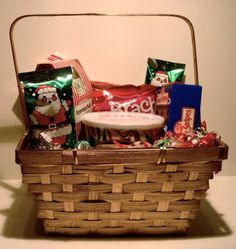 This is a perfect Christmas basket for anyone who likes old time Christmas candies. You get  old fashioned peppermint bark, a small can of hard Christmas candy, crimp ribbon, soft peppermint sticks and more. Perfect gift for mom , dad or grandma.