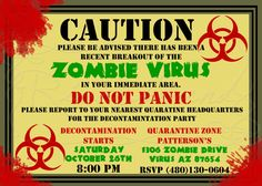 printable zombie invitations for a teen zombie party | party, Party invitations
