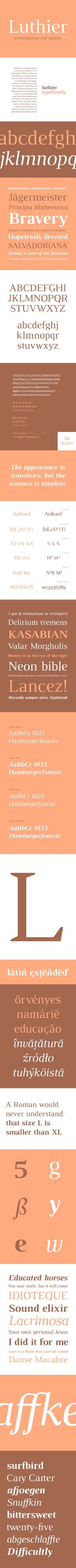 Luthier is a contemporary serif typeface. A transitional fontfamily with sharp serifs, high contrast, and four styles. Free for personal and commercial use