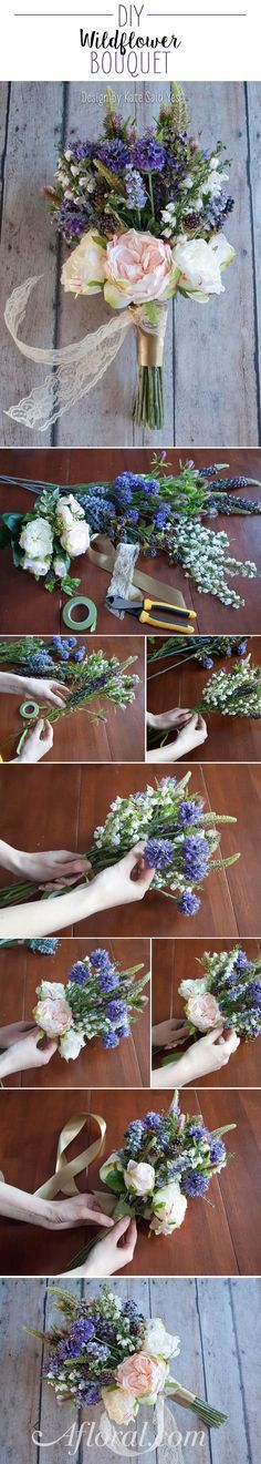 Create your own beautiful wildflower bouquet with gorgeous silk flowers from http://www.afloral.com/Silk-Wedding-Flowers #silkflowers Design by Kate Said Yes