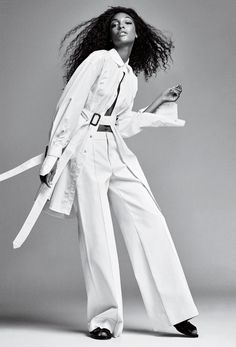 Model Jourdan Dunn wears Calvin Klein Collection jacket and pants