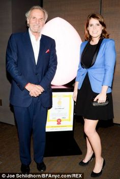 Connections: Mr Shand with Princess Eugenie at another Faberge Big Egg Hunt held earlier this month. She was believed to have been in attendance at last night's party